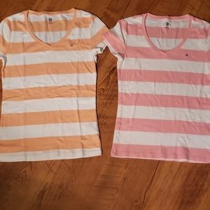 Lot of two Tommy Hilfiger v neck striped tee shirt